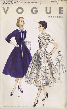 Vintage 50's One Piece Dress Pattern Princess Dress pattern flares below the waist-line and has pocket in side seams. Round neck-line, detachable Peter Pan collar. Three quarter length and short sleeves.