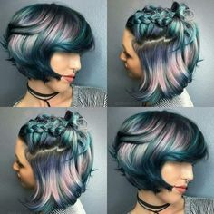 Metallic blue, pink, purple ombré hair color in pixie cut and braid Hair Color Purple, Cool Hair Color, Blue Hair, Hair Colors, Metallic Hair Color, Vivid Hair Color, Metallic Blue, Pink Hair, Pink Purple