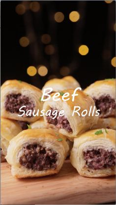 Beef sausage rolls made from beef with puff pastry. Perfect for snack, breakfast, and party appetizer. Kids will love these delicious savory sausage rolls. You only need ground beef, simple spices, and puff pastry for the main ingredients. Sweet Puff Pastry Recipes, Sausage Rolls Puff Pastry, Phylo Pastry Recipes, Savory Pastry, Beef Appetizers, Appetizers For Party, Appetizer Recipes, Puff Pastry Appetizers, Simple Appetizers