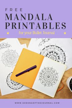 Free 4 pack of hand drawn mandalas for you to print out and color!  sheenaofthejournal.com