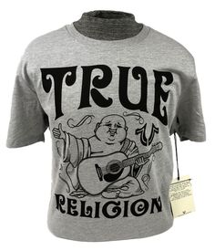 abb88832 TRUE RELIGION Shirt Graphic Logo T-shirt Buddha Mens Grey Crew Top M L XL  2XL