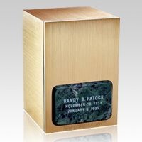 The Memories Green Marble & Bronze Cremation Urn is made from natural quarried green marble with a bronze cast urn. The marble urn can be etched with our beautiful designs. Each marble urn is unique and no two urns will ever be the same, a wonderful urn to create memorial for your loved one. You can have this urn with 75 different designs, please see the pictures below (click for enlargement) and select your choice from the menu option.  Back opening.