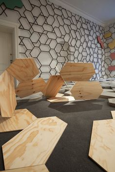 Pia-Jensen-4.  Interesting geometric shapes made out of plywood art.