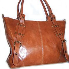 Tan Leather Handbag Purse Tote Nora in tan fits a 15 inches laptop