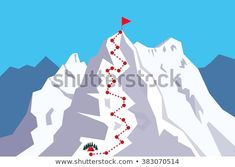 Route to the Top - climbing, alpinism, mountaineering / Career growth / Goal achieving concept - Vector infographic Escalade, Illustrations, Mountaineering, Photos, Pictures, Climbing, Mount Everest, Infographic, Career