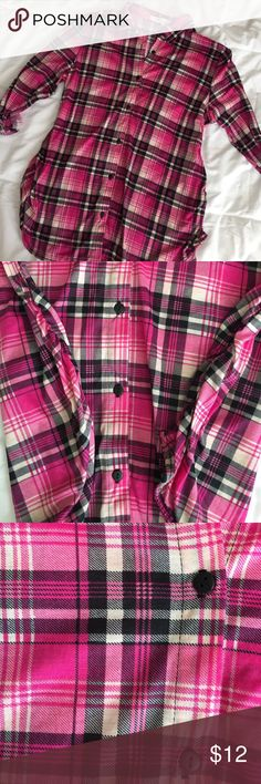 Maternity Pink Plaid Button Down Shirt Super cute and trendy pink button down shirt. Goes perfect with jeans and leggings! Size large but if you're a medium, it gives a bit more length (for leggings). Only worn once for a few hours. Excellent condition. eden and olivia Tops Button Down Shirts
