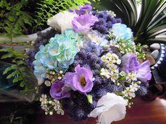 August wedding bouquet: hydrangea, lisianthus, waxflower, thistle; #GroveDesign www.grovedesignstudio.com