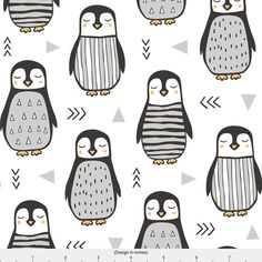 1 yard (or 1 fat quarter) of Penguins Black&White with Sweater Geometric and Triangles in Grey on White by designer caja_design. Printed on Organic Cotton Knit, Linen Cotton Canvas, Organic Cotton Sateen, Kona Cotton, Basic Cotton Ultra, Cotton Poplin, Minky, Fleece, or Satin fabric.  Available in yards and quarter yards (fat quarter). This fabric is digitally printed on demand as orders are placed. Unlike conventional textile manufacturing, very little waste of fabric, ink, water or elec...