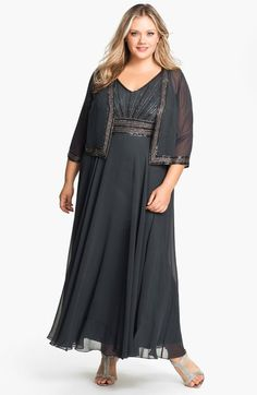 J Kara Embellished Chiffon Gown & Jacket (Plus) available at #Nordstrom