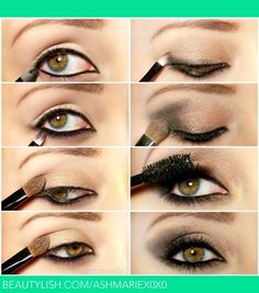 Golden Smokey Eye #Fashion #Beauty  #Tip.                                                              1.line upper lid and waterline 2.smudge gray shadow on lower lash line 3.add gold shadow on upper lid 4.add gray eyeshadow to the outer v 5.blend 6.add mascara/lashes 7.your done enjoy