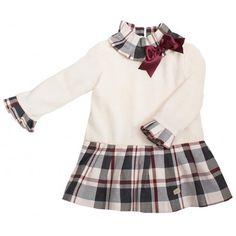 Vestido Eve cuerpo de punto falda a cuadros Eve Children, Skater Skirt, Skirts, Ideas, Fashion, Vestidos, Red Ribbon, Checkered Skirt, Fashion For Girls