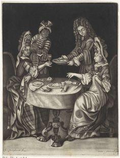 Anonymous | Twee dinerende vrouwen, Anonymous, Justus Danckerts, 1650 - 1701 | Twee dames zitten tegenover elkaar aan een ronde tafel te eten. Rechts plaatst een man een schaal met spijzen op tafel en links schenkt een donkere man een van de dames wijn in.