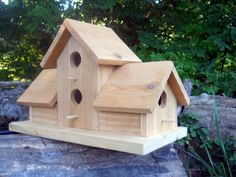 Birdhouse,4 nests bird house.folk art primitives.