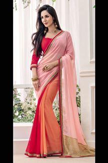Show details for Multi color katdana border work chiffon designer saree