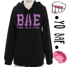 """HOST PICK 9.5CUTE """"BAE"""" HOODIE! Before Anyone Else! Cute sweatshirt hoodie in black with purple glitter letters on front. Nice and warm! 100% rayon. PLEASE DO NOT BUY THIS LISTING! I will personalize one for you. LARGE: bust 38"""" length 28"""" arm length 24.5"""" tla2 Tops Sweatshirts & Hoodies"""