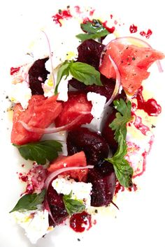 "Beet Salad with Summer Melon and Feta  ""In the last days of summer when melon is super sweet, I like to eat them with earthy beets and salty feta. It's a perfect lunch on a hot day."""