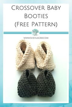 Crossover Baby Booties FREE Knitting Pattern | ShehlaGrr... these are too cute! So quick and easy to make, these little booties would be perfect welcome home gifts for moms and their new babies!
