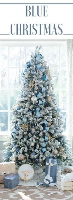 Decorating the house for Christmas can be so fun! I love the color blue so I chose to decorate our living room Christmas Tree in shades of blue. Using blue ribbons and blue Christmas tree ornaments the color was a change and the result a beautiful blue Ch