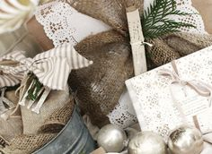 Pretties and Posies: December 2010 - burlap gift bag and burlap adornments