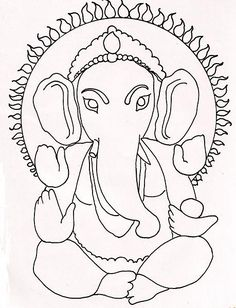 Ganesha drawing a Buddha Drawing, Ganesha Drawing, Ganesha Painting, Ganesha Art, Clay Ganesha, Hand Embroidery Designs, Embroidery Patterns, Quilling, Pikachu Art