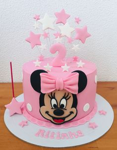 Charm this cake as Minnie Rosa theme! - - Charm this cake as Minnie Rosa theme! Mini Mouse Birthday Cake, Mini Mouse Cake, Baby Birthday Cakes, Mickey Birthday, 2nd Birthday, Bolo Minnie, Minnie Cake, Mickey Cakes, Mickey Mouse Cake