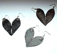 leaves earrings, leather leaf earrings, long, leaves dangle earrings, black earrings, earrings gray, boho earrings , leather earrings