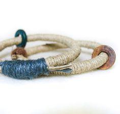 Blu e marrone Boho bracciali Bangles accatastamento bracciali Hippie chic fibra bracciali ecologici fibra gioielli