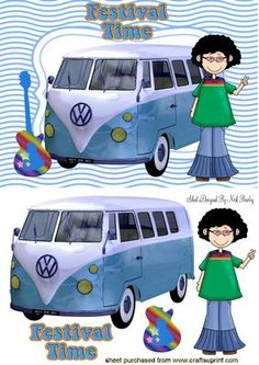 GUITAR WITH BLUE CAMPERVAN HIPPY  on Craftsuprint - Add To Basket!
