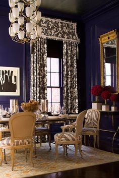 #lacquer blue walls + window treatments #cornice board