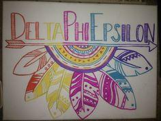 delta phi epsilon canvas little ray Delta Phi Epsilon, Alpha Gamma, Sorority Crafts, Sorority Life, Dear Future, Paddles, Big Little, Boom Boom, Greek Life
