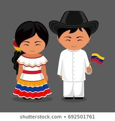 Venezuelans in national dress with a flag. Man and woman in traditional costume. Travel to Venezuela. Vector flat illustration: compre este vector en Shutterstock y encuentre otras imágenes. Multicultural Activities, Anastasia, Costumes Around The World, World Thinking Day, Flag Vector, Flat Illustration, People Of The World, Traditional Outfits, Paper Dolls