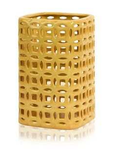 Links Graphic Small Vase, Yellow by IMAX. Save 1 Off!. $36.36. Beautiful handcrafted ceramic vase with a repeating graphic cut-out design. Yellow vase measures 11.5 inches h by 7 inches w by 7 inches d. IMAX Worldwide-One Source.  A World of Choices!. Due to the artisan crafted nature of this product, no two will be identical. A keen eye and a steady hand are required to delicately create the perforated pattern. Links Small Graphic Vase--Beautiful hand-cut detailing elevates t...