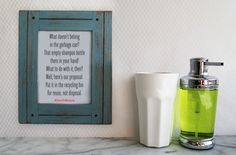 Here's a fun DIY tip to help house guests and family members remember to recycle bathroom products: Post a fun, framed message where they're sure to see it. Feel free to use our poem, or write your own as a family! #CARETORECYCLE