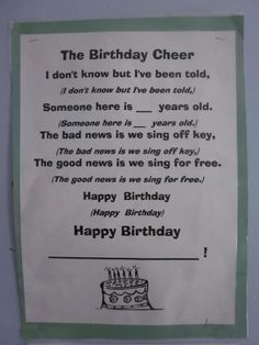 I like the first part of this birthday chant, I'd probably change the rest