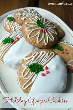 We are still thinking Christmas in July here and have some simply decorated but beautiful Christmas Cookies for today. This Holiday Ginger Cookie is a delicious spiced cookie that can be made into little cookie sandwiches or decorated individually. The spiced cookie and royal icing come together for just the right amount of sweet. Christmas Cookies ~ Holiday Ginger Cookies Ingredients: 1/2 cup softened butter 3/4 cup light brown sugar 1 large egg at room temperature 1 tsp vanilla e...