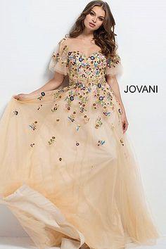 Nude Floral Embroidered Sheer Neck Evening Dress 45820
