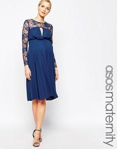 ed5d15a6fb ASOS+Maternity+Kate+Midi+Dress+With+Lace+Sleeves Moda