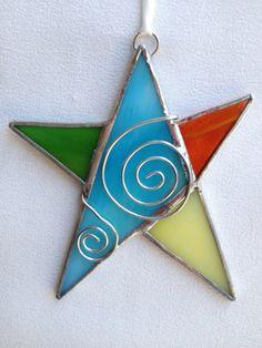 Vitrail ornement - étoile avec fil