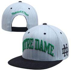 Mitchell & Ness Notre Dame Fighting Irish Striped Denim Arch Two-Tone Adjustable Snapback Hat - Ash