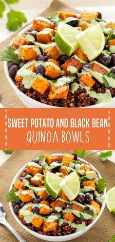 An easy recipe perfect for a healthier holiday lunch or dinner! These Sweet Potato and Black Bean Quinoa Bowls are primarily made up of three main ingredients and then seasoned with some southwest spices. Save this healthy vegetarian main dish for later! Vegetarian Main Dishes, Vegetarian Recipes Dinner, Veggie Recipes, Quinoa Recipes Lunch, Recipes For Vegetarians, Veggie Lunch Ideas, Dessert Recipes, Meals With Quinoa, Healthy Vegetarian Recipes