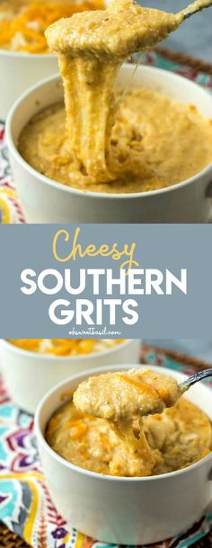 southern recipes Southern grits are cooked in chicken stock, cream, and tons of spices to make them incredibly flavorful and finished with two kinds of cheeses to make them extra gooey and rich Southern Grits, Southern Dishes, Southern Recipes, Southern Food, Southern Comfort, Southern Style, Breakfast Time, Breakfast Recipes, Breakfast Ideas
