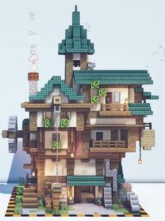 Minecraft Steampunk, Casa Medieval Minecraft, Minecraft Mansion, Minecraft Cottage, Minecraft Castle, Cute Minecraft Houses, Minecraft Room, Minecraft Plans, Minecraft House Designs