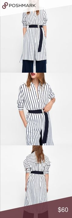 2ce0e1a4 NWT Zara Black White Striped Shirt Dress Long sleeved dress with polo  collar and inner placket