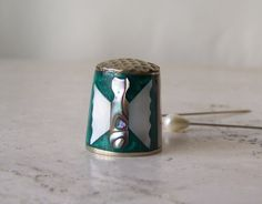 Vintage Mother of Pearl Thimble Iridescent Green Mother Of Pearl Butterfly Alpaca Mexico Hand Crafted Sewing Room Thimble Collector by cynthiasattic on Etsy