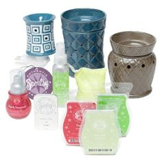 Scentsy offers a variety of electric warmers which use low watt bulbs to warm the scented bars.  Many styles to include a tabletop warmer, wall plugin and element warmers (hot slate built into the warmer, no bulb)
