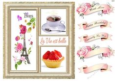 Paris in the spring with the Eiffel Tower, flowers, coffee and a strawberry tart all surrounded by a gold frame. Just add a fancy sentiment tag. Birthday Verses For Cards, Birthday Cards, Strawberry Tart, Happy Birthday Balloons, Christmas Scenes, Quick Cards, Card Designs, Pretty In Pink, Decoupage