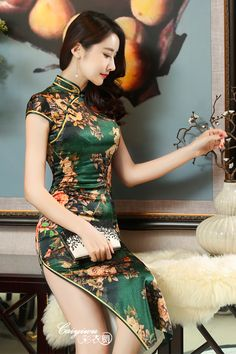 New Winter Chinese Traditional Dress Silk Satin Cheongsam Print Stand Collar Cap Sleeve Qipao Dresses Short Style Dress T's media statistics and analyticsShe wears satin and invites me🌾🌹👄 Pixgallery CaGorgeous and so fitting/tight Beautiful Chinese Women, Beautiful Asian Girls, Oriental Dress, Cheongsam Dress, Ao Dai, Sexy Asian Girls, Asian Fashion, Teen Fashion, Fashion Models