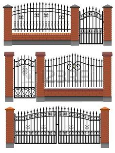 Photo about Vector gate, wicket and fences with red brick columns and a metal lattice, isolated on white. Illustration of homestead, gate, inclosure - 26575467 Iron Gate Design, House Gate Design, Fence Design, Brick Columns, Brick Fence, Metal Gates, Wrought Iron Fences, Metal Lattice, Tor Design