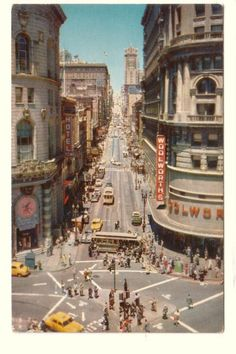 Powell at Market Street Showing Cable Car Turntable & Woolworths Store San Francisco California CA Old Postcard. $5.50, via Etsy.