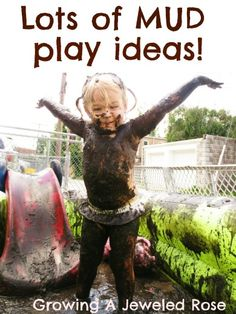 Play in the Mud- The Set Up. Lots of glorious mud play ideas! Who doesn't Love to play in the mud? Sensory Activities, Craft Activities For Kids, Sensory Play, Summer Activities, Toddler Activities, Projects For Kids, Outdoor Activities, Toddler Chores, Sensory Bags